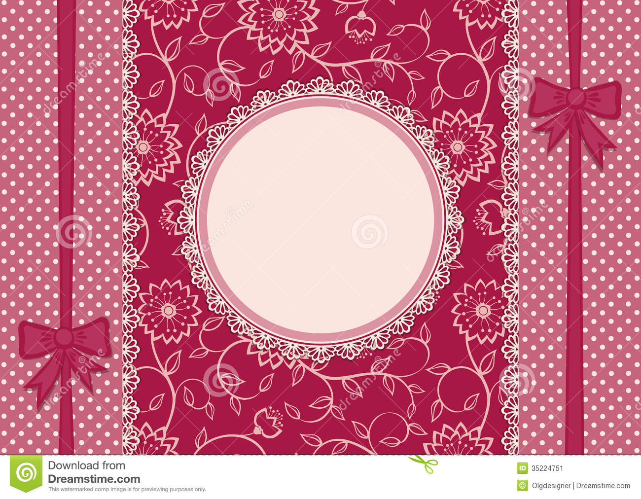 Card with gift ribbons and lace frame stock image image for Border lace glam