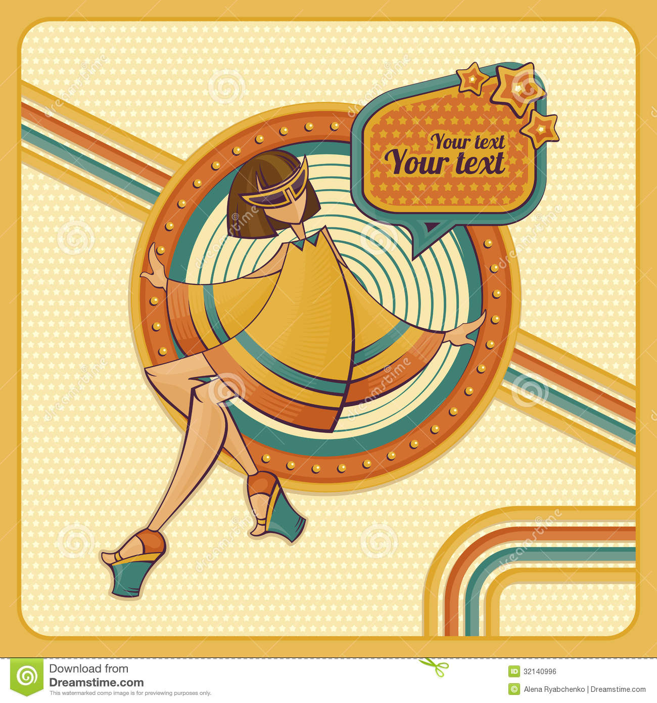 Retro Beach Illustration Royalty Free Stock Photo: Card With Girl In Retro Style Royalty Free Stock Image