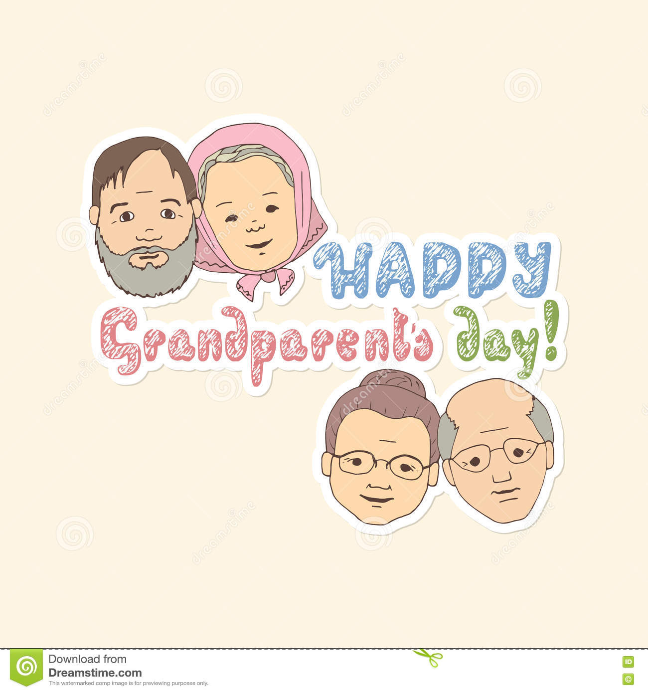 Card For Grandparents Stock Vector Illustration Of Human 76294675