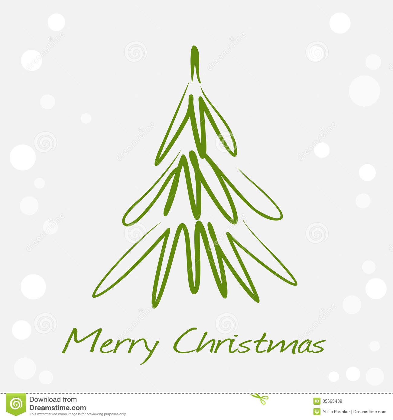 Card With Green Christmas Tree Royalty Free Stock Images - Image ...