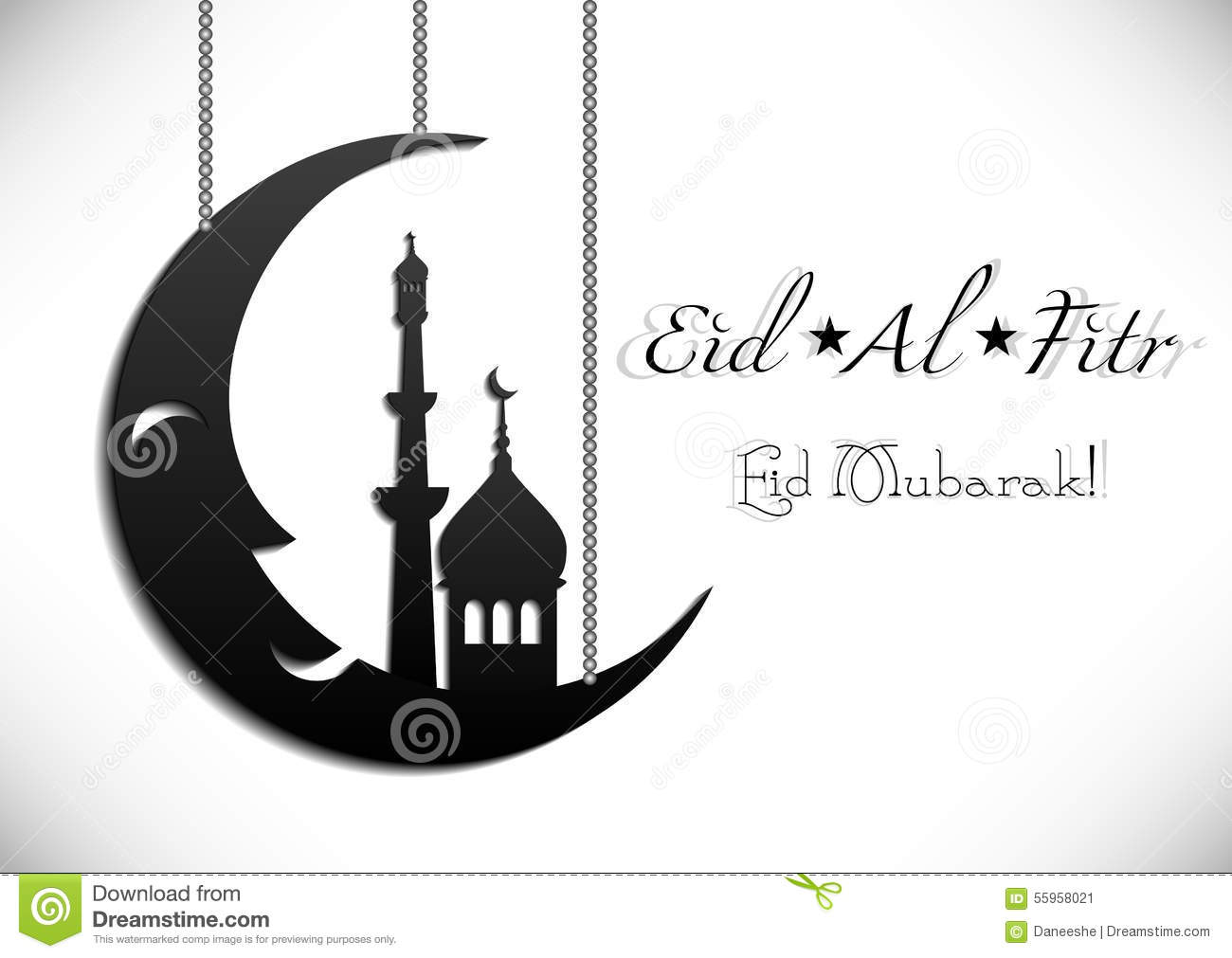 Card For Greeting With Islamic Feast Eid Al-Fitr Stock ...