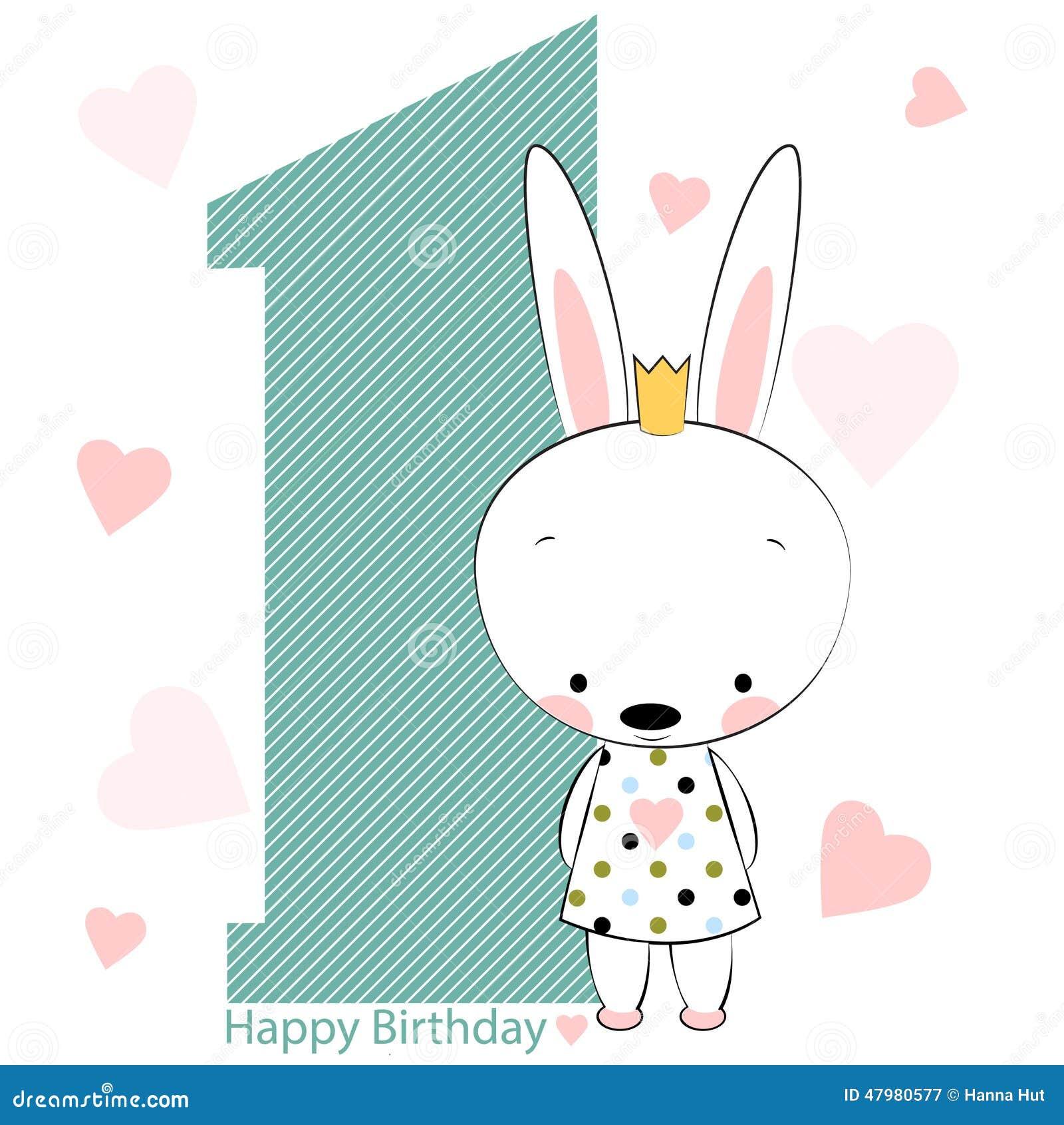 Happy Birthday Girl Illustration ~ Card on happy birthday with bunny girl stock vector image