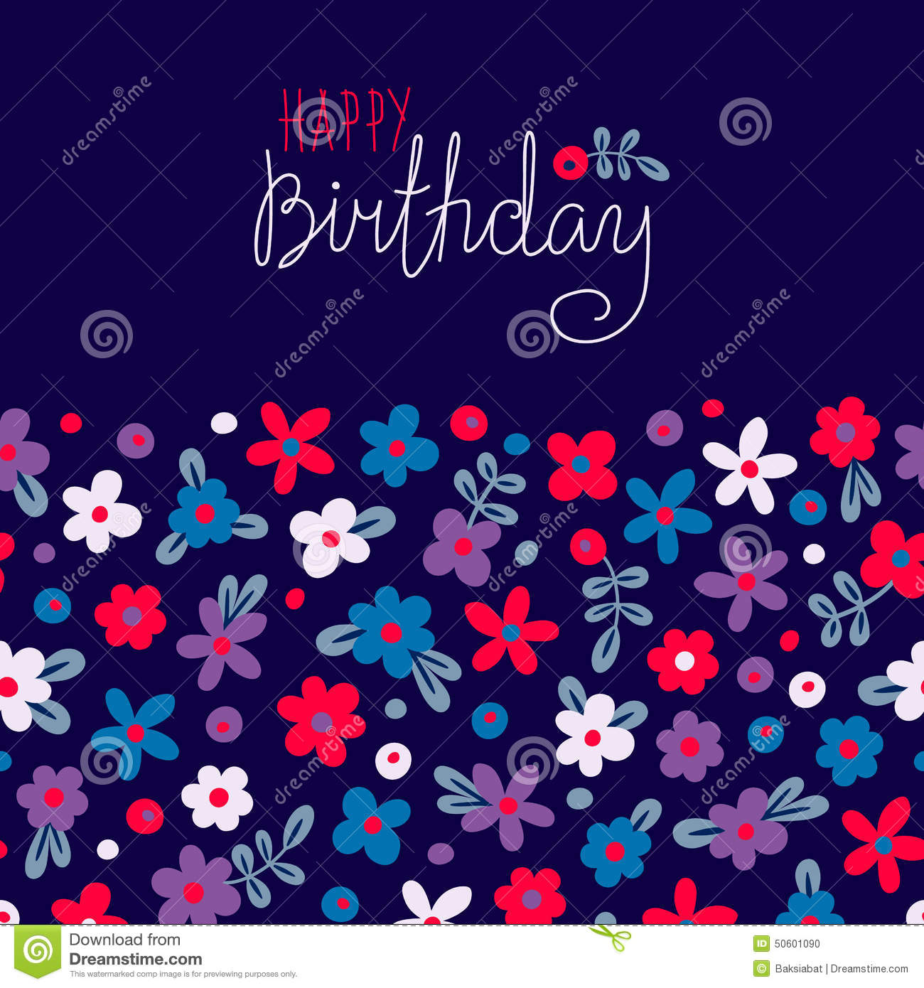 Card happy birthday with cute flowers stock vector image 50601090 birthday card cute happy dhlflorist Gallery