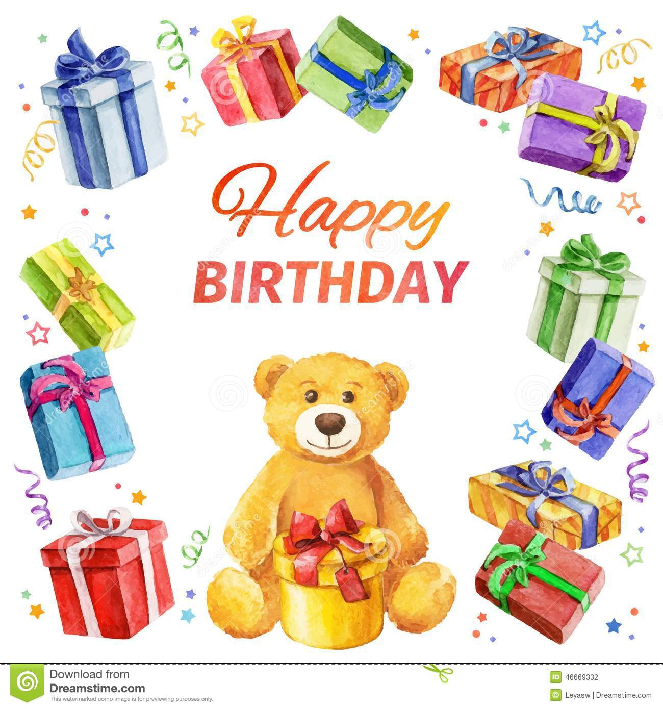 Card Happy Birthday Square Frame Of Gifts And Teddy Bear