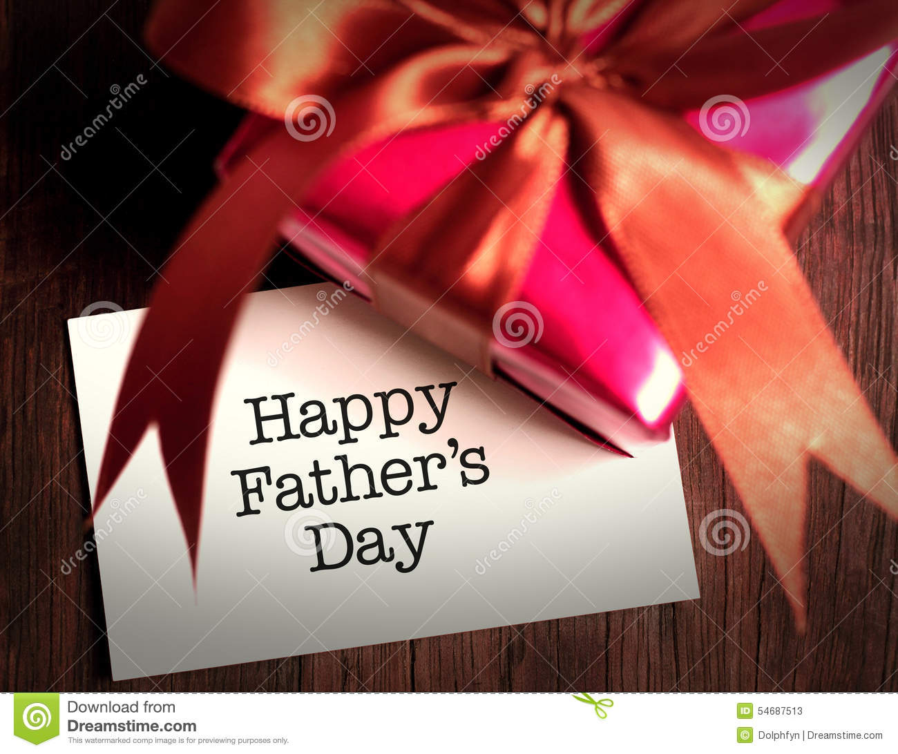Card of happy fathers day and prensent box