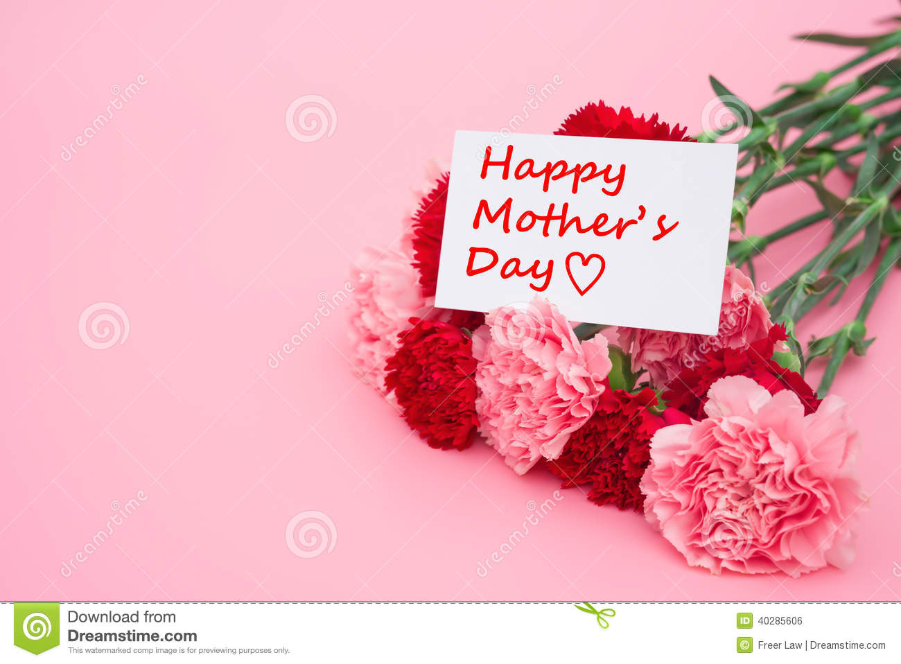 Card Of Happy Mothers Day And Prensent Box And Red Carnations Stock