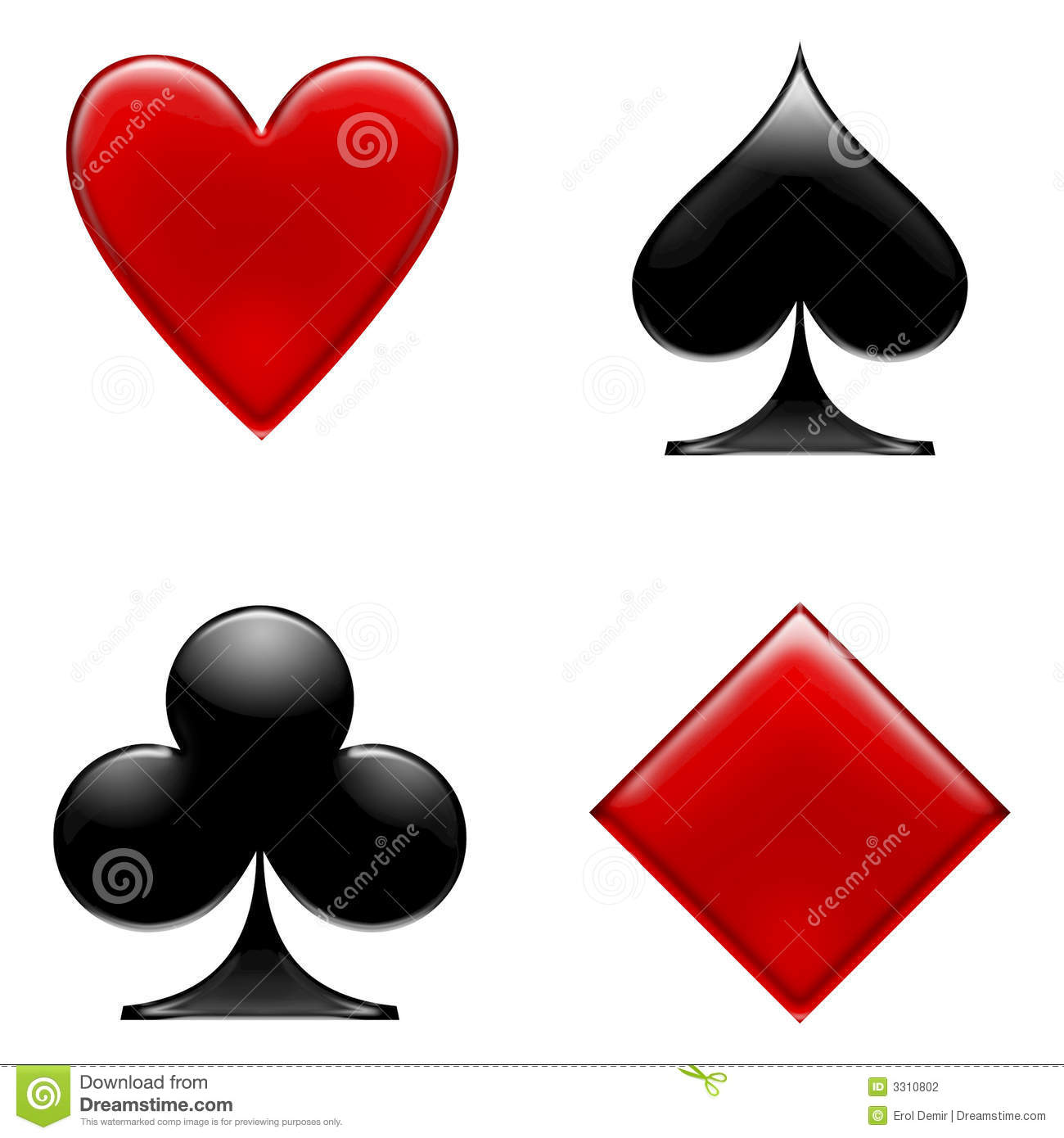 Clubs,hearts,diamonds and spades.