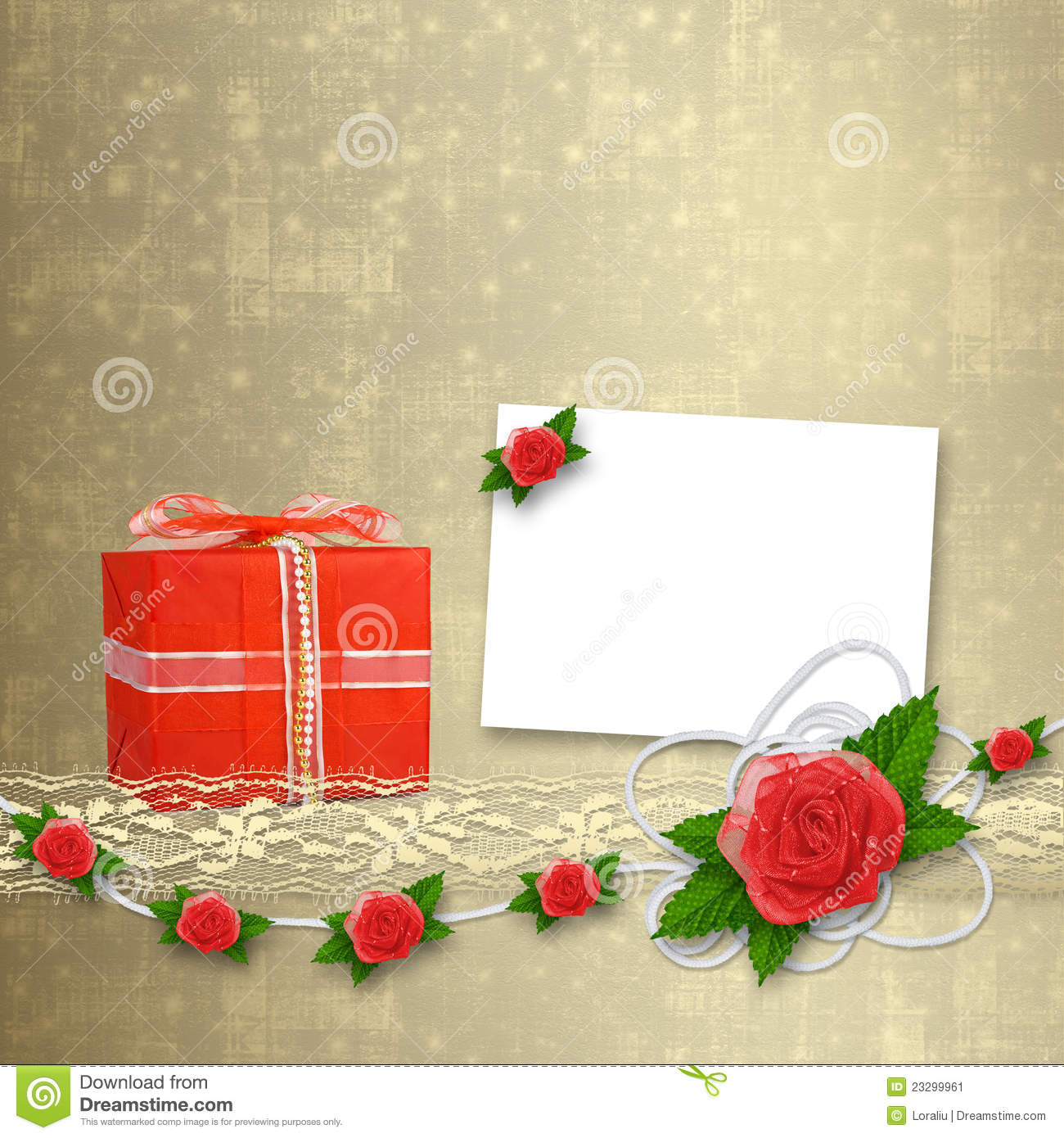 Card for invitation with buttonhole and lace