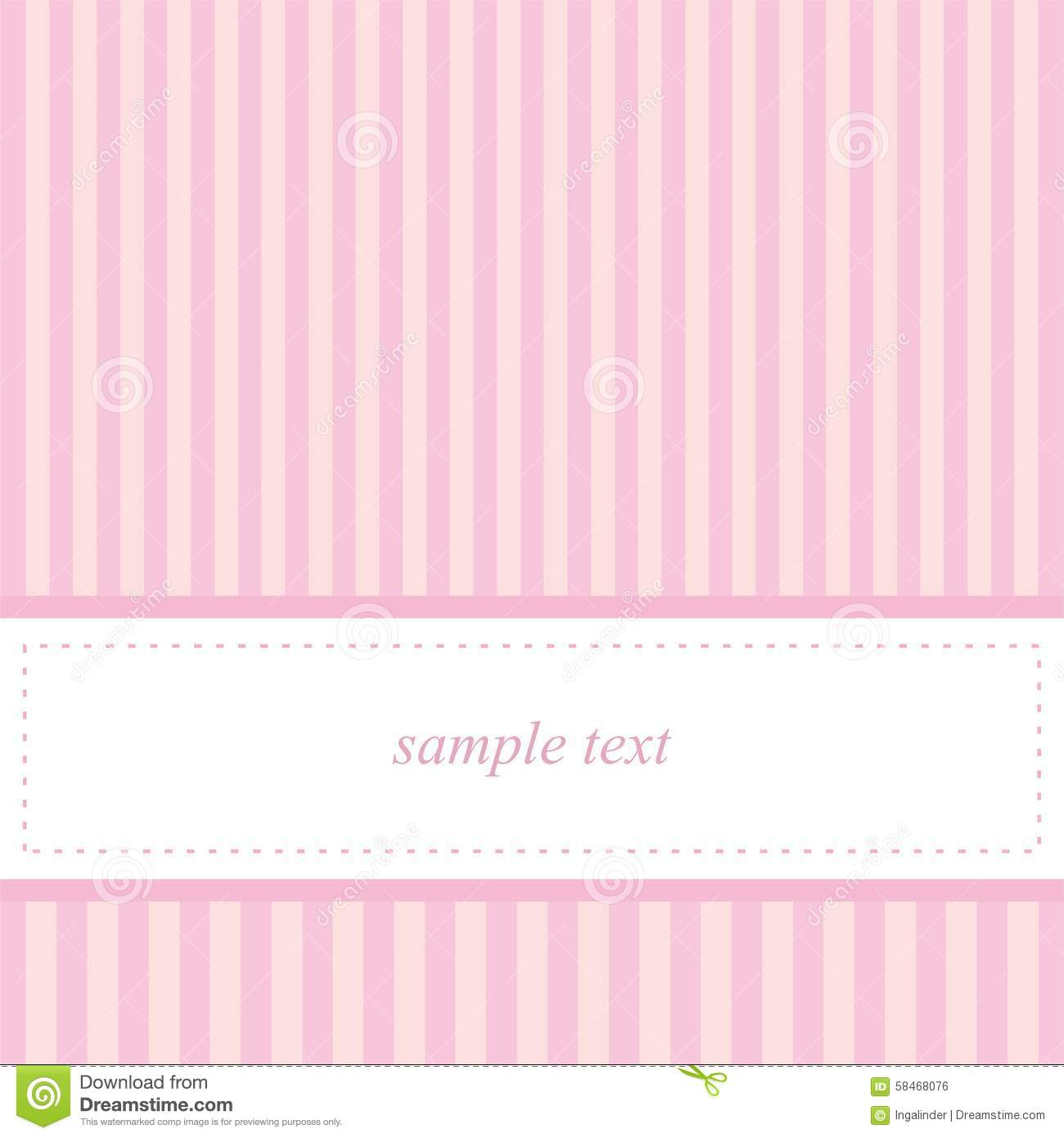 Card Invitation Vector Template With Pink Stripes