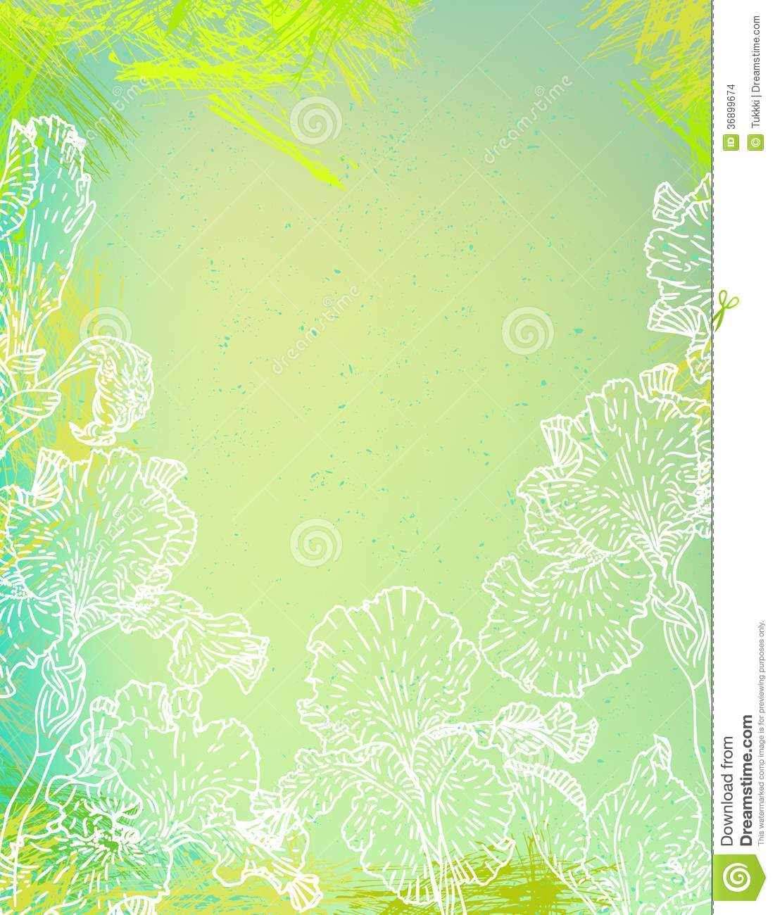 Card With Iris Flowers On Green Watercolour Stock Vector
