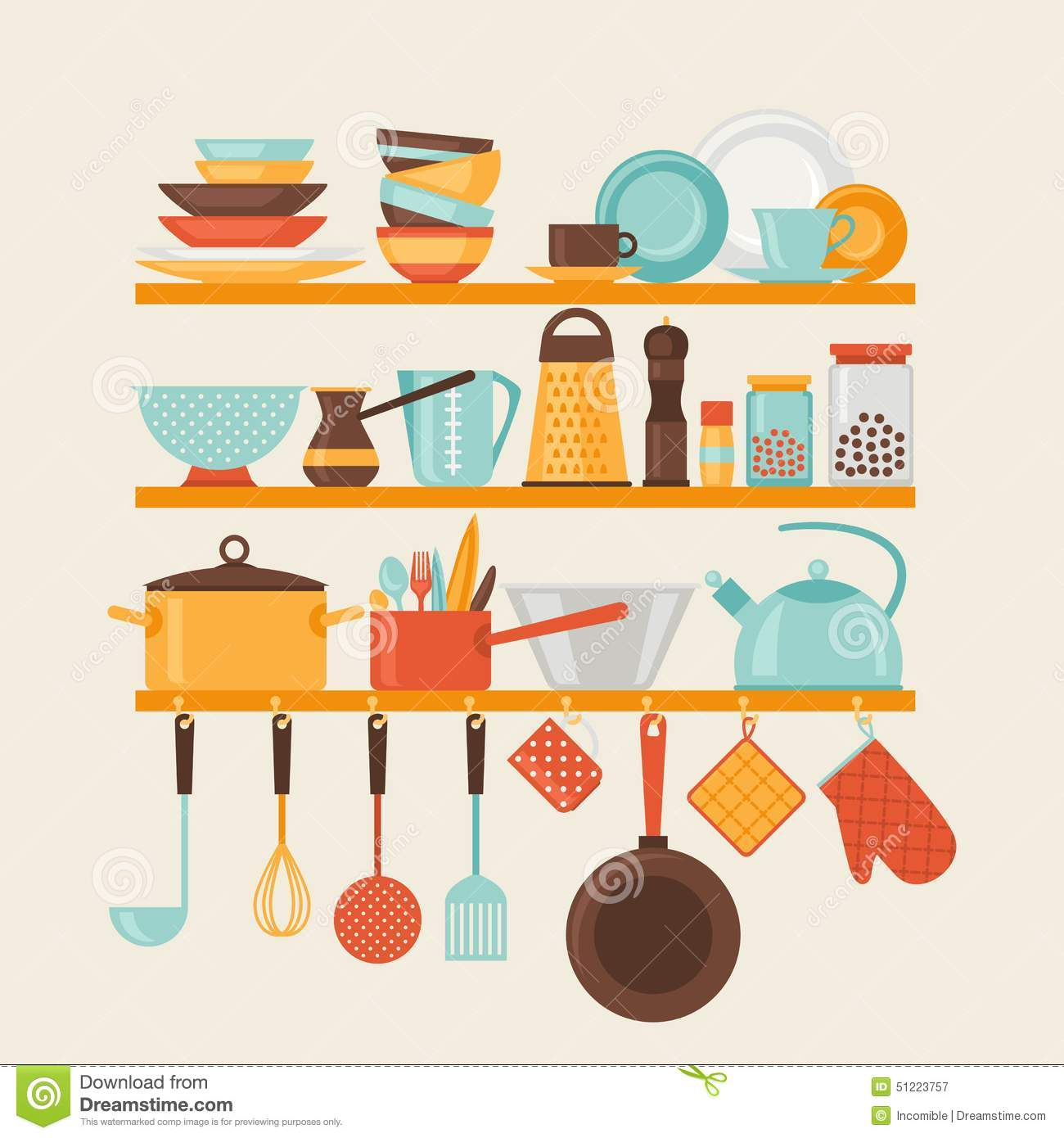 Card with kitchen shelves and cooking utensils in