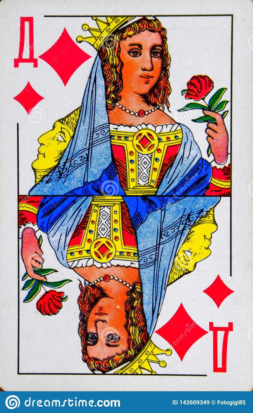 Card lady of diamonds, suit of diamonds