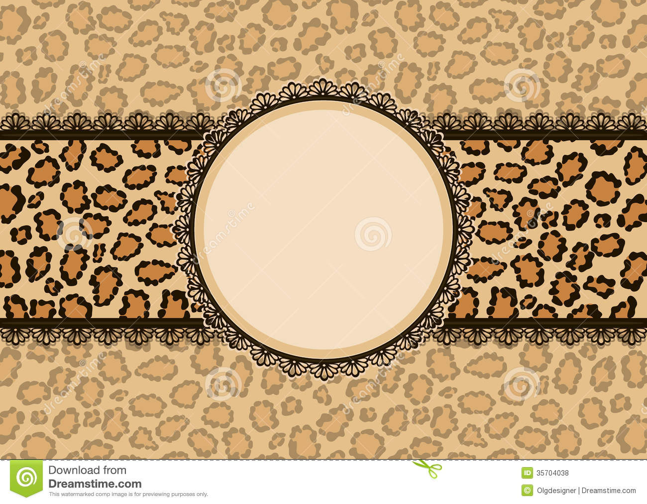 Card With Leopard Texture Background And Lace Frame ...
