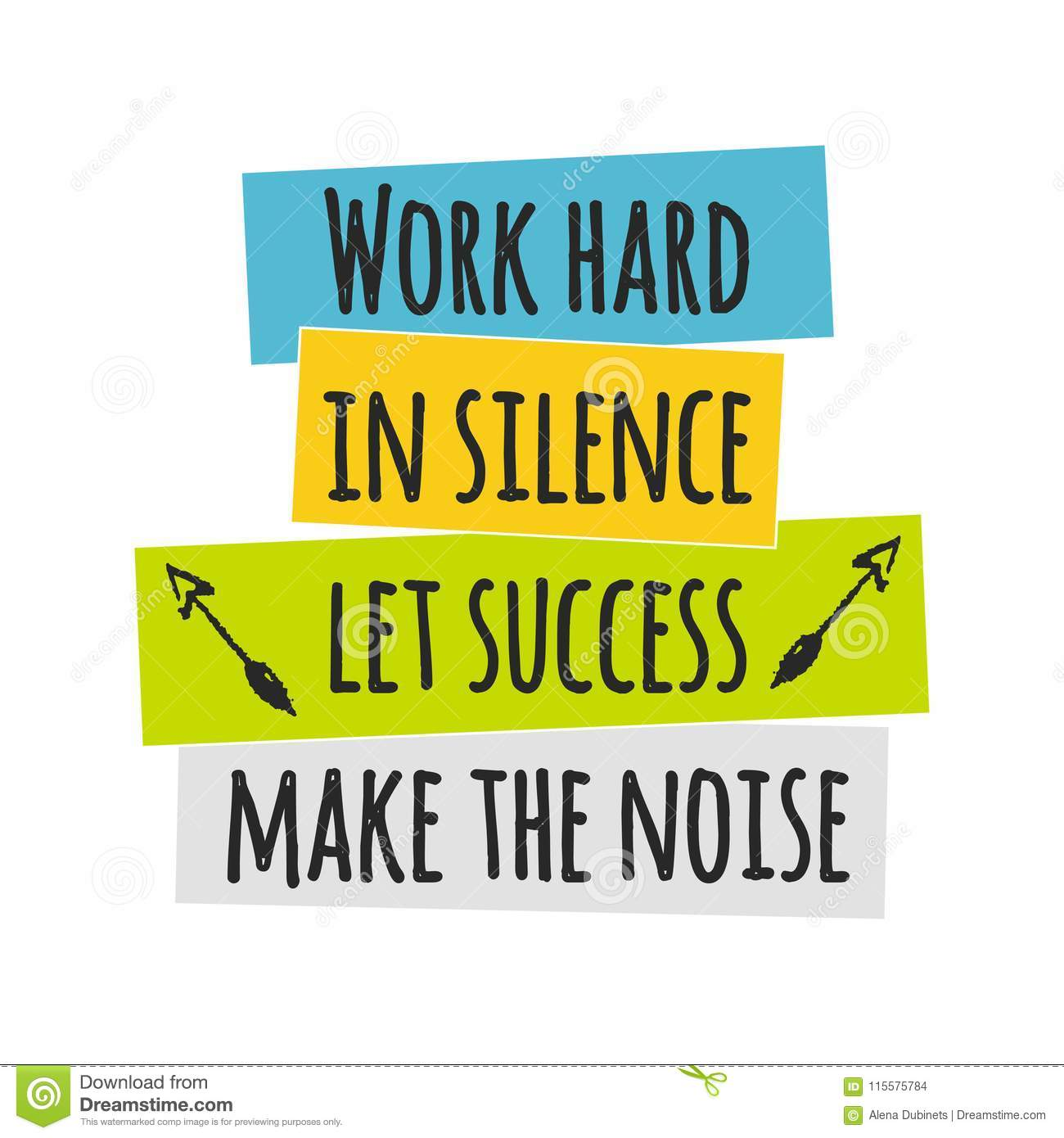 Card With Lettering Work Hard In Silence Let Success Make The Noise