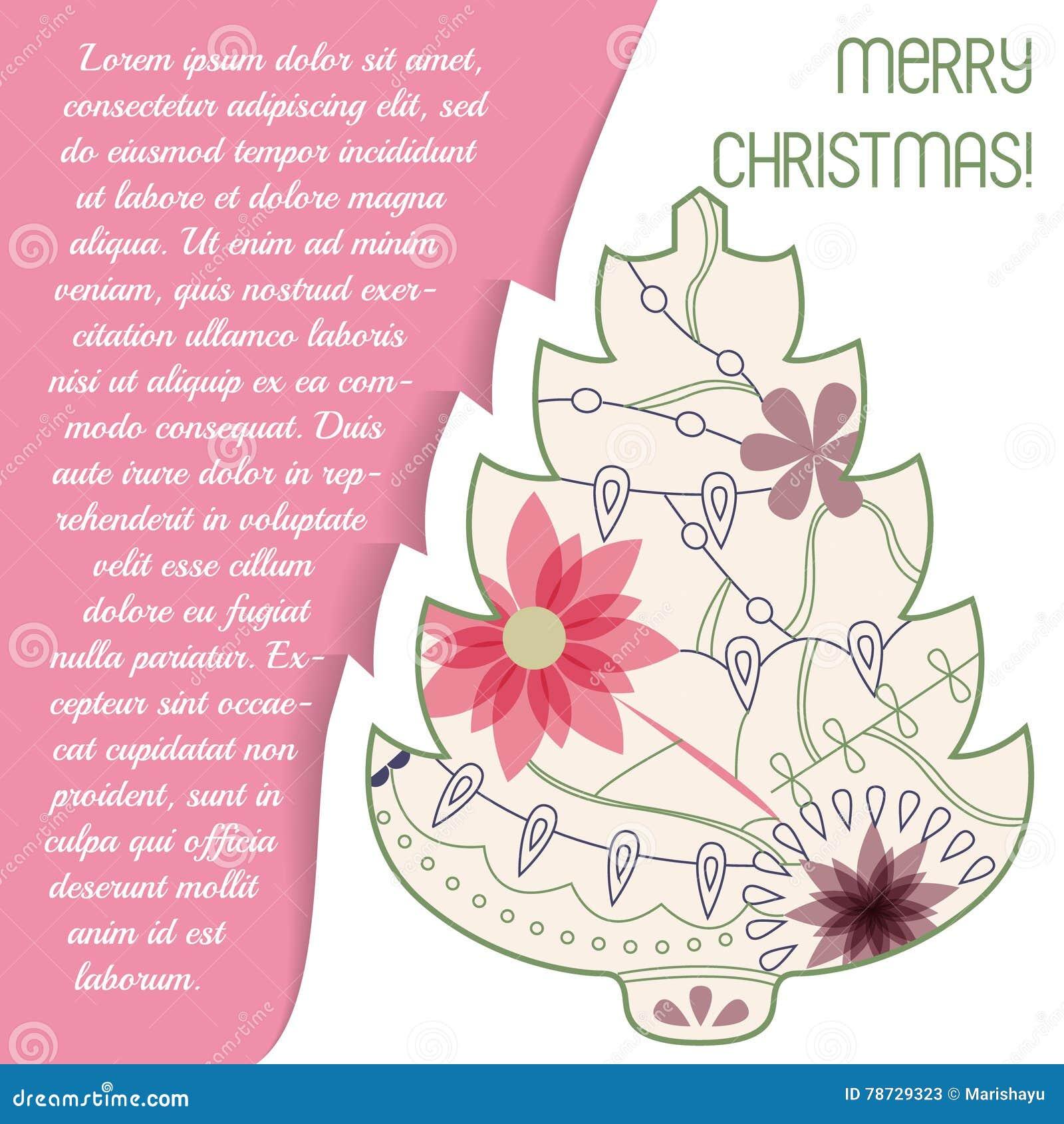 Card med julträdet på papper och förlägga för text