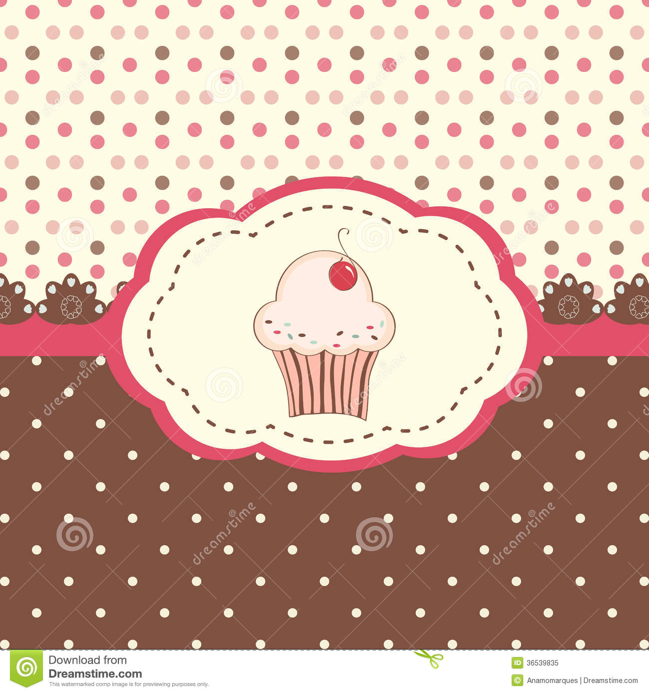 card menu with cupcake and polka dots background stock