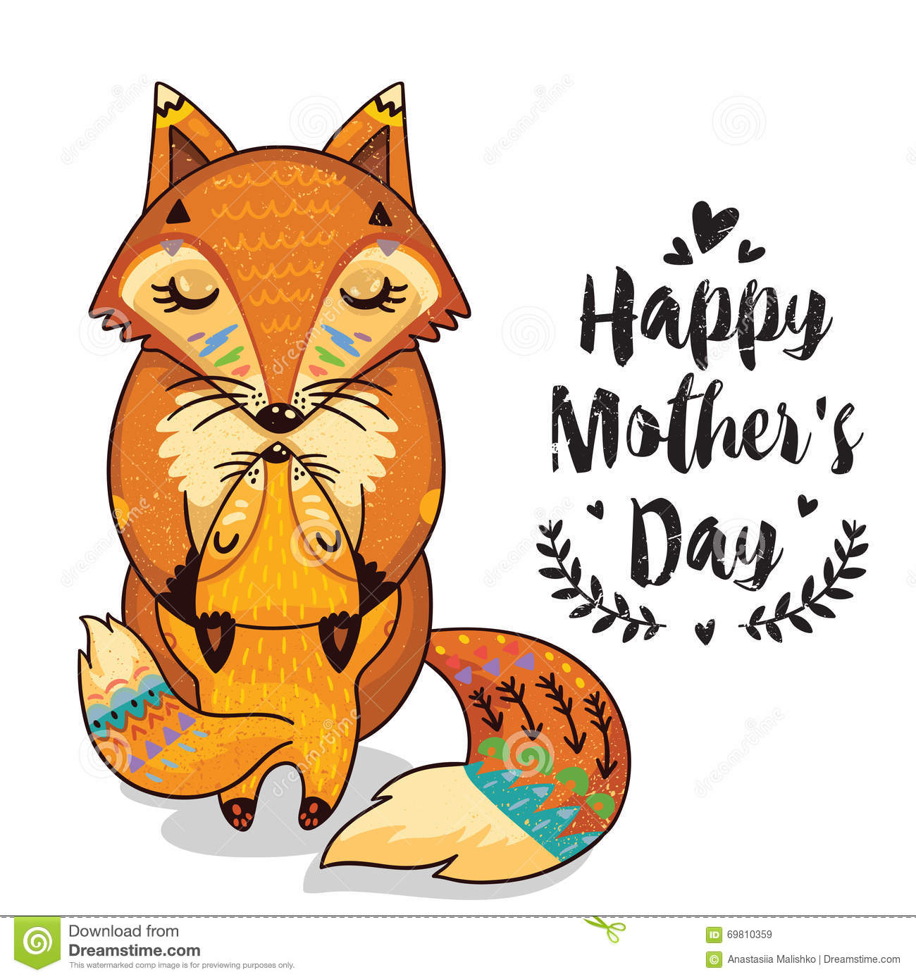 Card for Mothers Day with foxes
