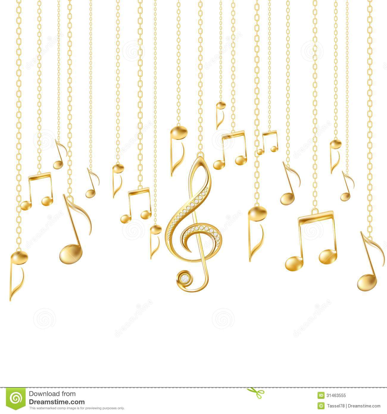 Musical notes staff background on white vector by tassel78 image - Background Clef Golden Illustration Musical