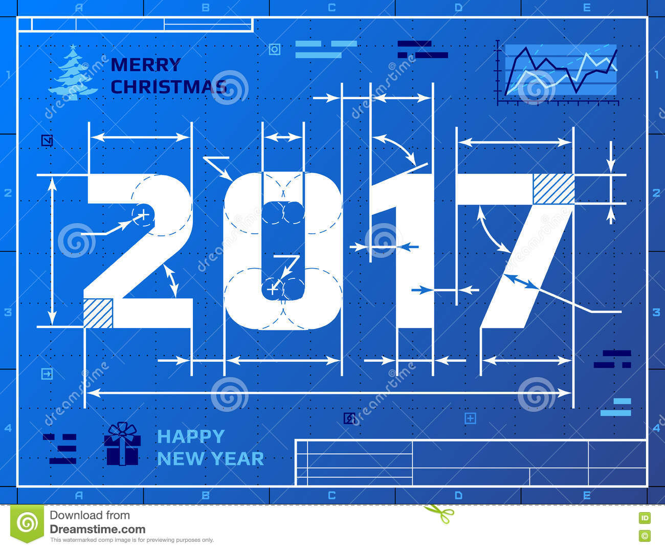 Blueprint stock illustrations 30663 blueprint stock card of new year 2017 as blueprint drawing stylized drafting of 2017 on blueprint paper malvernweather Image collections