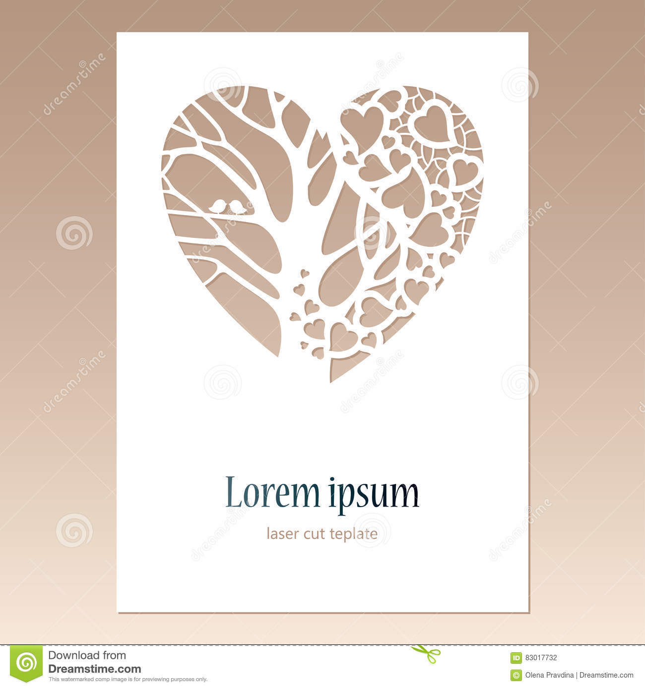 Card With Openwork Heart With Tree And Two Birds And Space For T