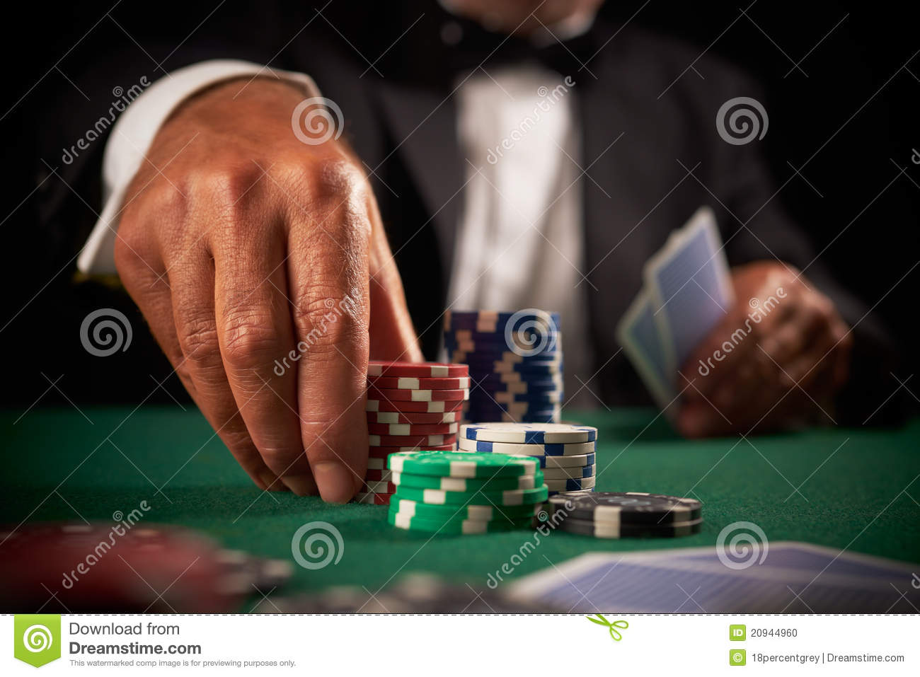 Card player gambling casino chips