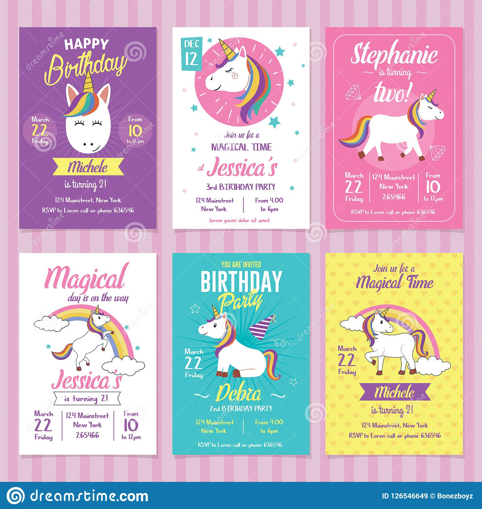set of unicorn birthday invitation cards stock vector illustration .
