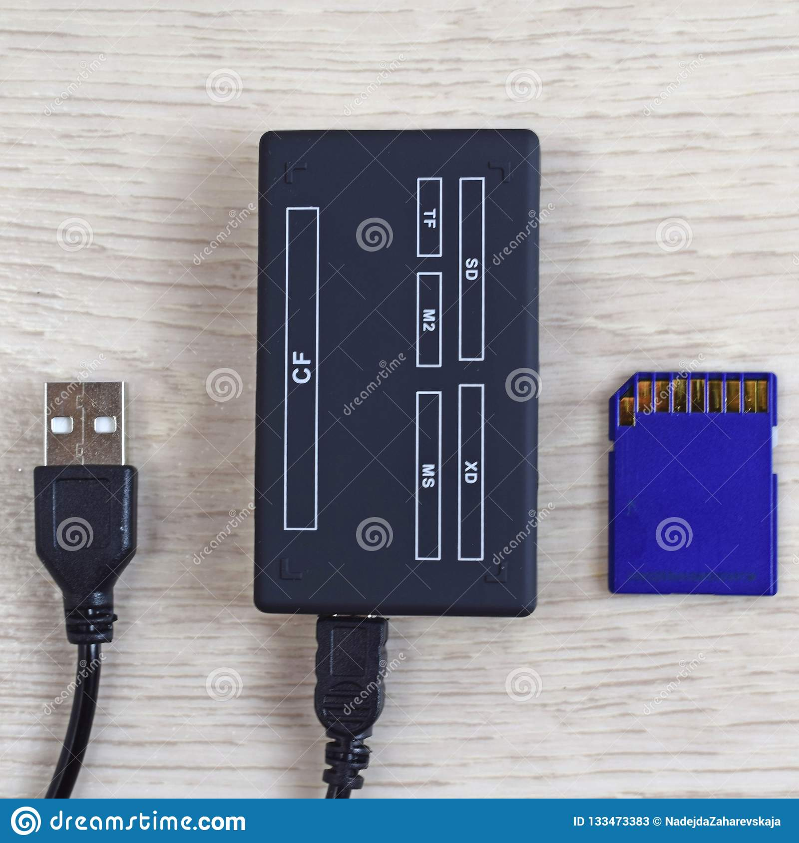 Card reader and flash drive.