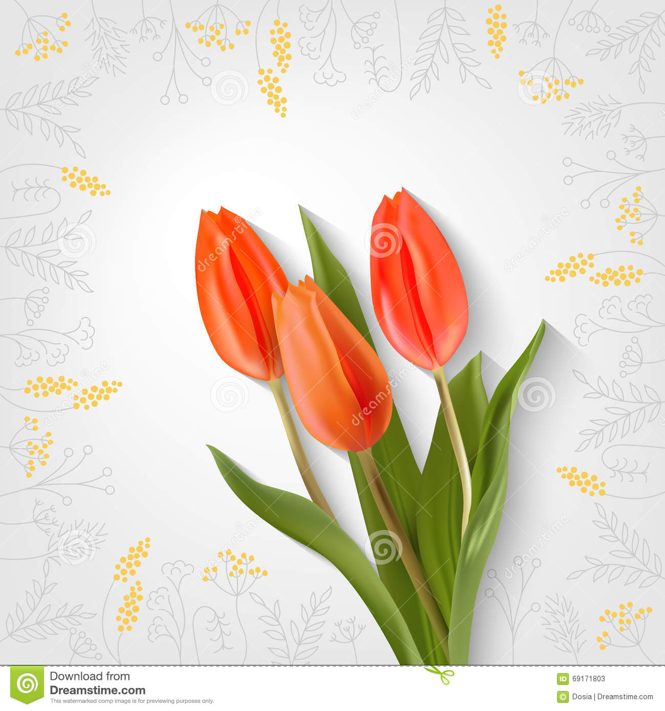 40facd26cc96b Hand drawing flowers and three red tulip. Spring card. Vector realistic  tulips on a light background with a shadow. Frame gray flowers.