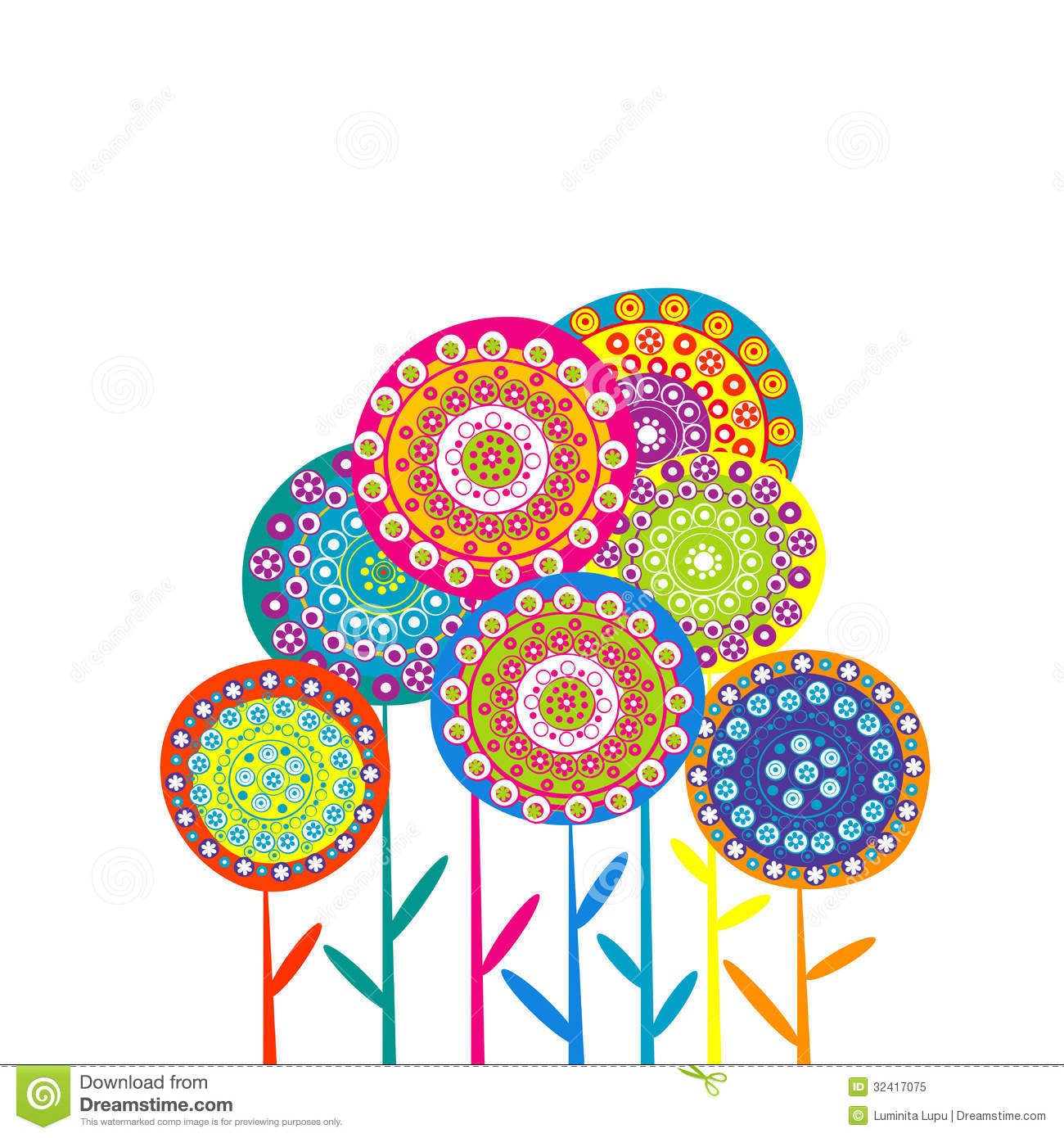 Card with retro flowers stock vector. Image of indian ...