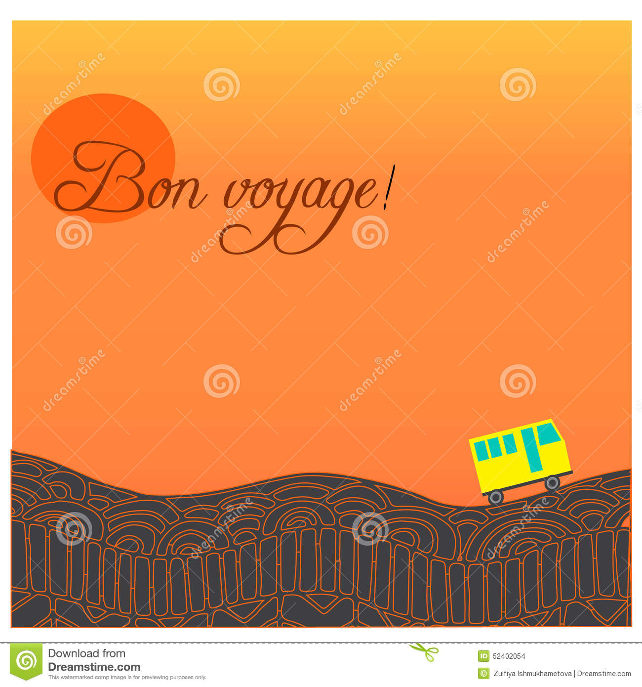 Card With Road Bus And Text Happy Journey In French Bon Voyage