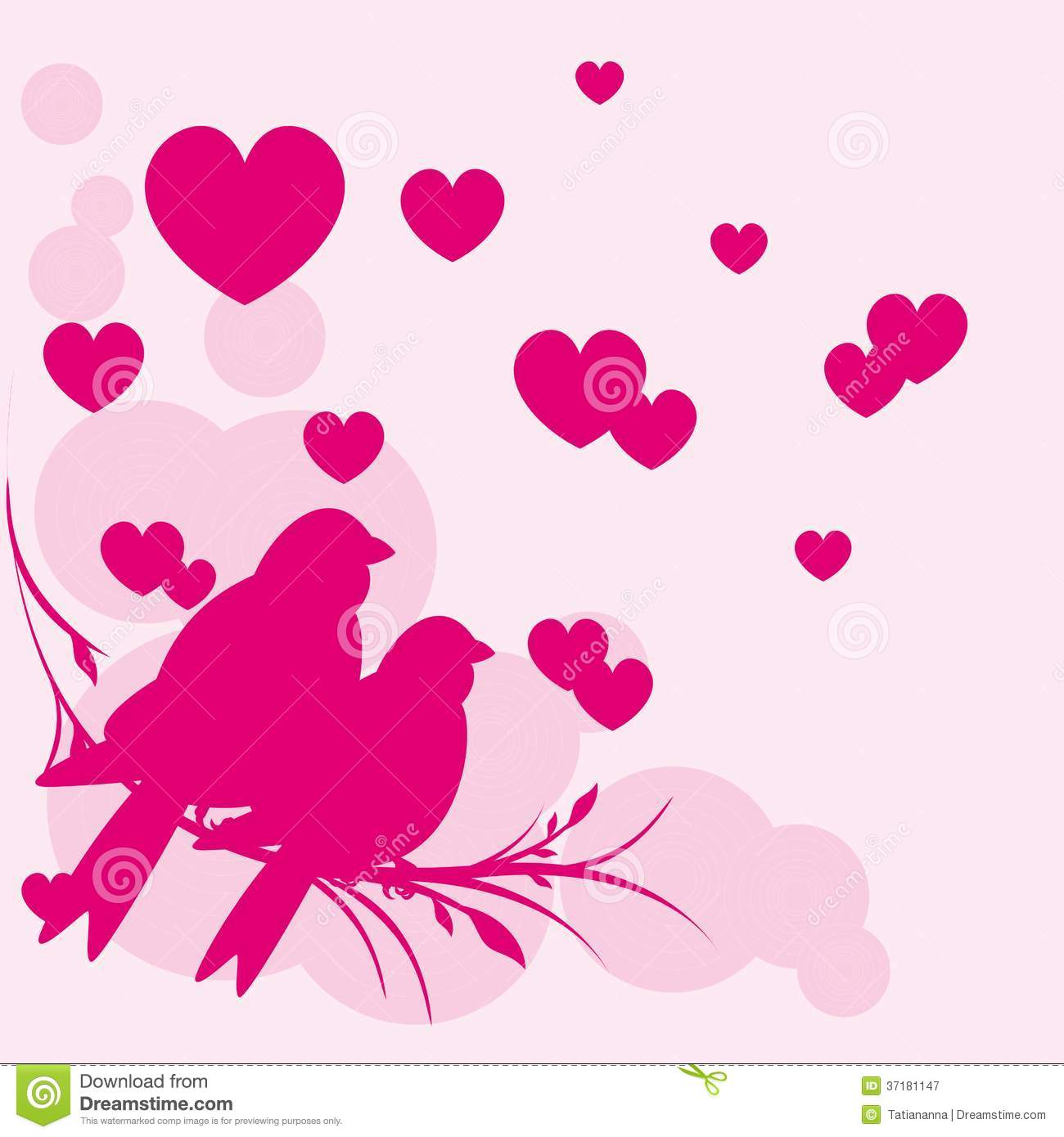 Card Of Romantic Love Birds Vector Eps 10 Stock Vector