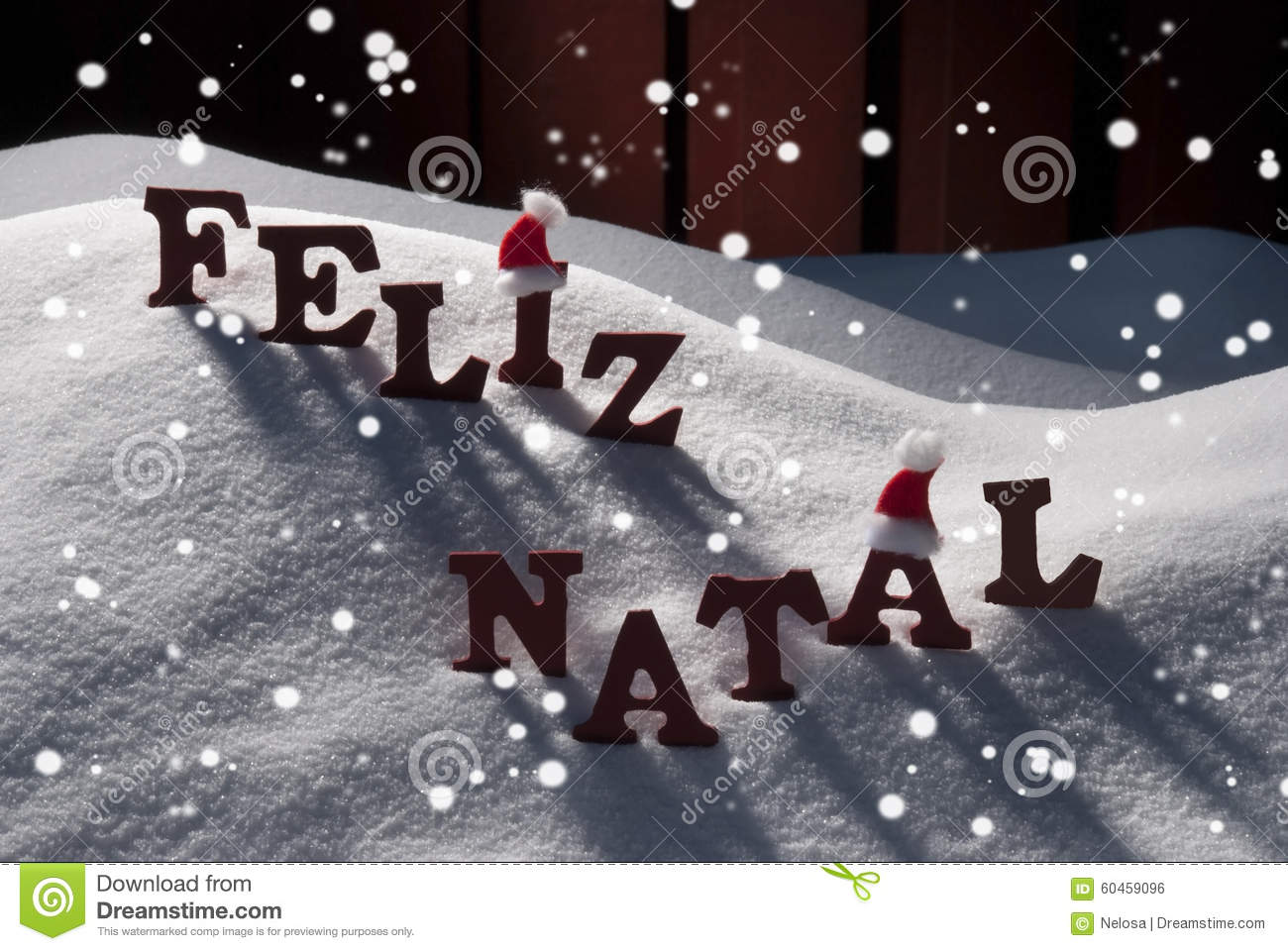 bf68d900c004e Red Letters With Santa Hat On White Snow With Snowflakes As Christmas Card.  Portuguese Text Or Word Feliz Natale Means Merry Christmas.
