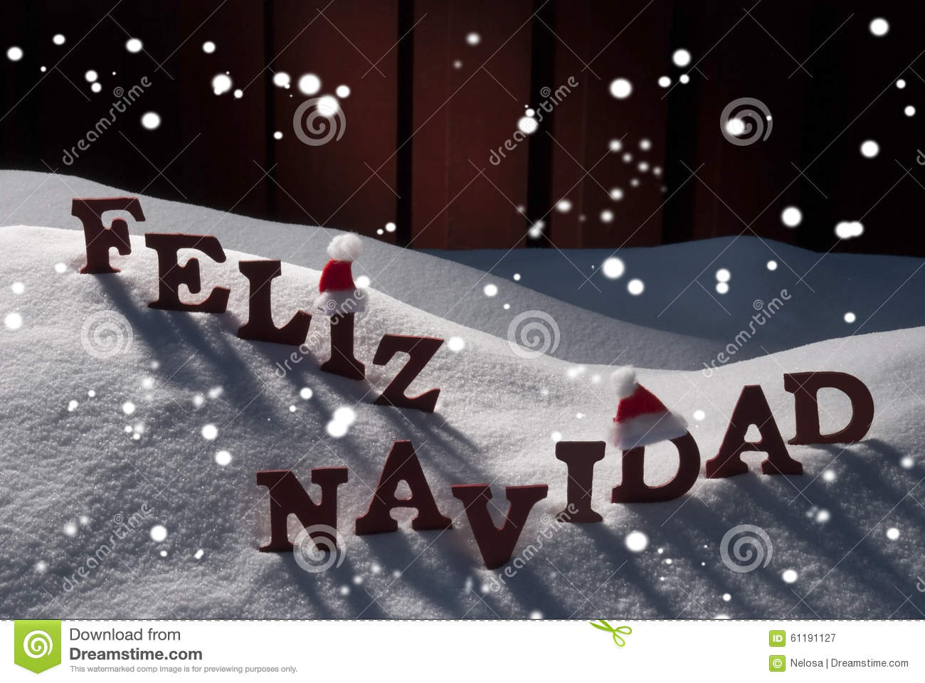 Card With Santa Hat, Snowflakes, Feliz Navidad Mean Christmas Stock ...