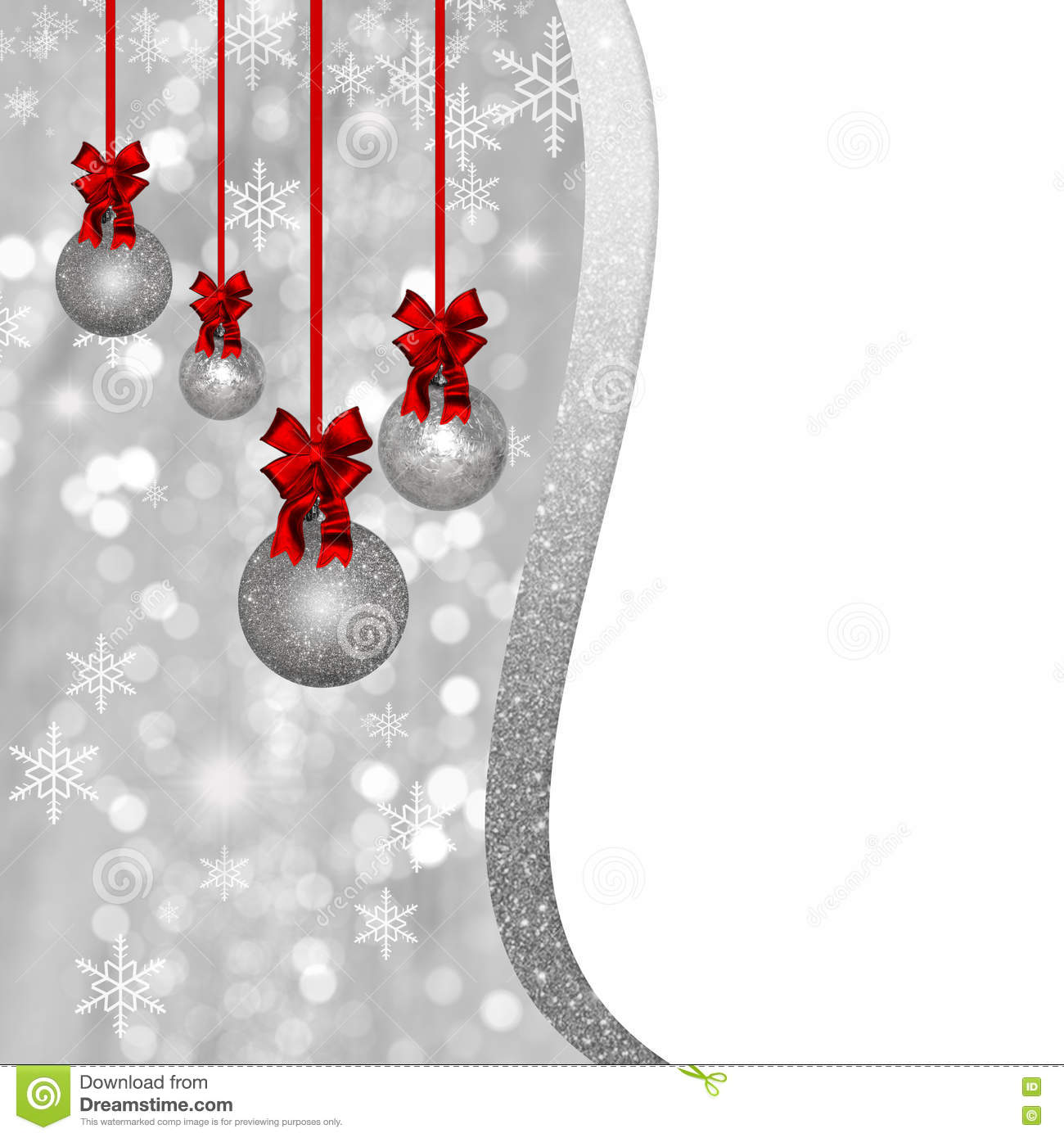 White Silver Ornament Silvers: Card With Silver Christmas Baubles And Red Decorations