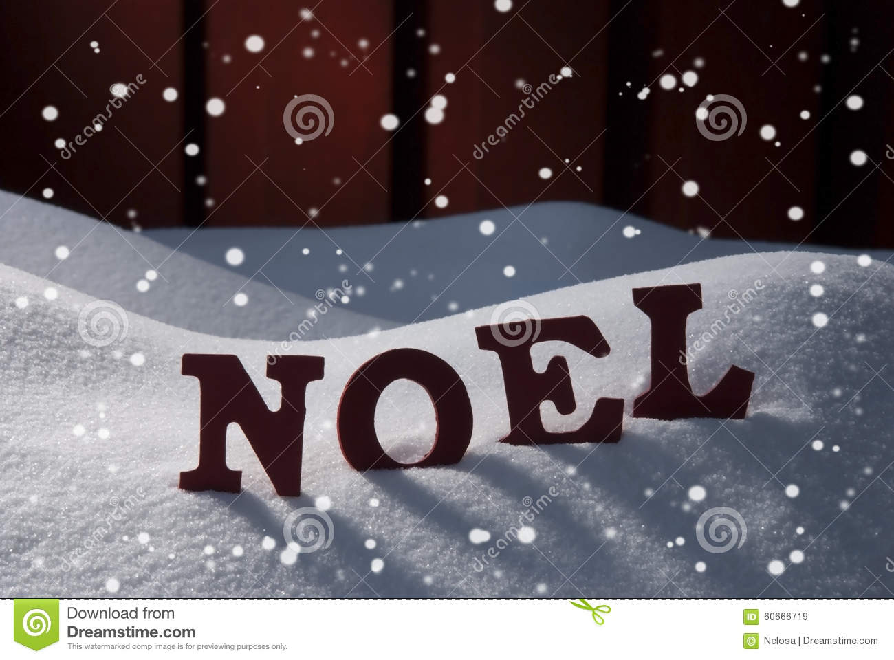 Card With Snow And Word Natal Mean Christmas, Snowflakes Stock Image ...