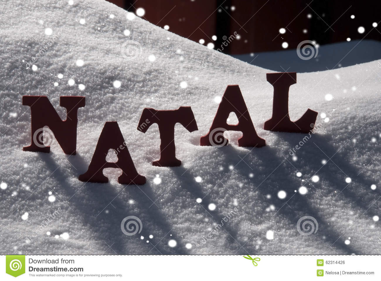 Card With Snow And Word Natal Mean Christmas, Snowflakes Stock Photo ...