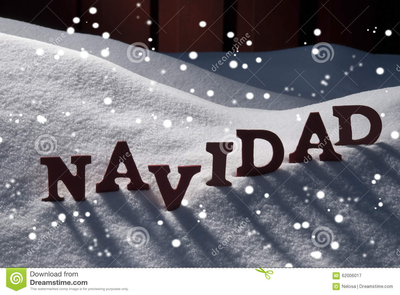 Card With Snow And Word Navidad Mean Christmas, Snowflakes Stock ...