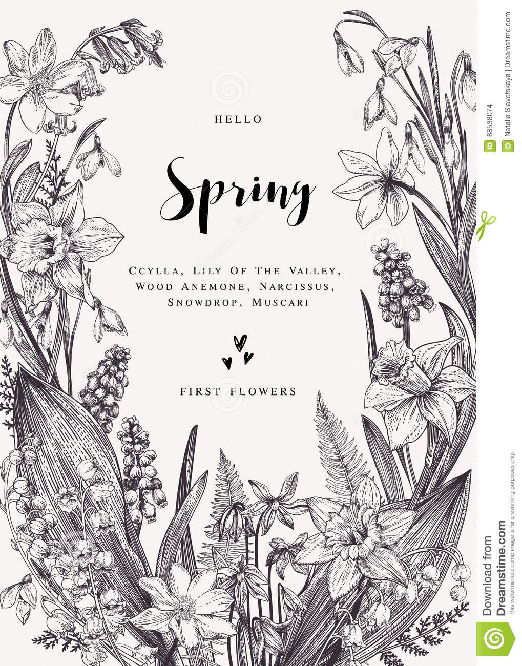 Card With Spring Flowers Stock Vector Illustration Of Botanic