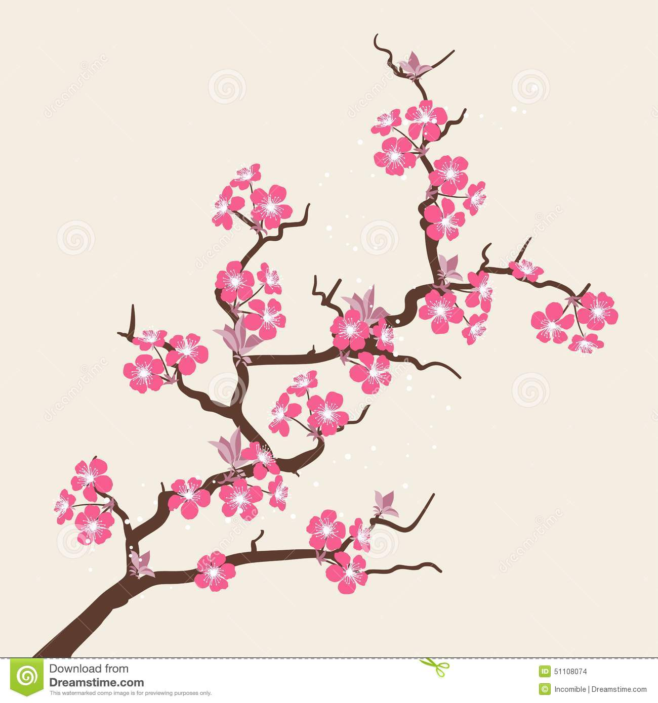 Card With Stylized Cherry Blossom Flowers Stock Vector