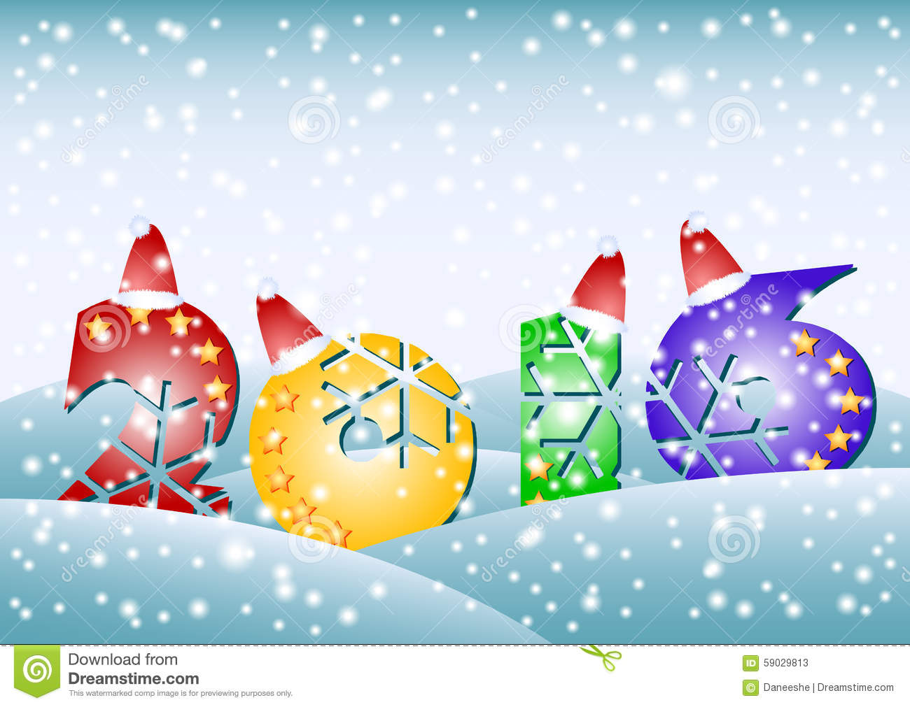 Card With Stylized 2016 For Greeting With New Year And Christmas