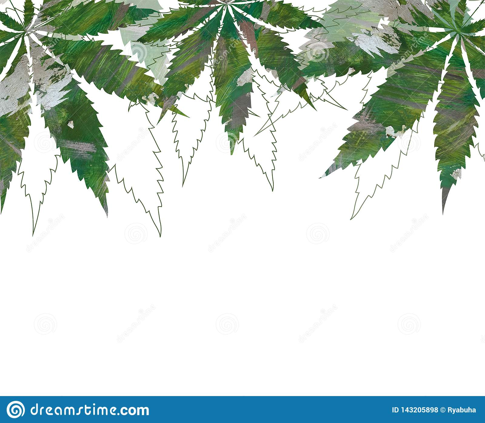 Card, template, banner hand drawing of leaves of hemp cannabis