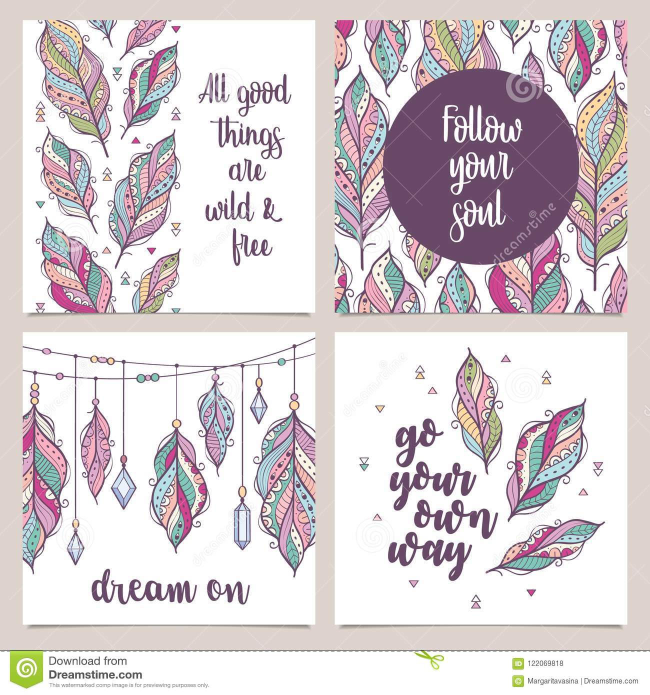 Card template collection for banners, flyers, posters with feathers in boho style