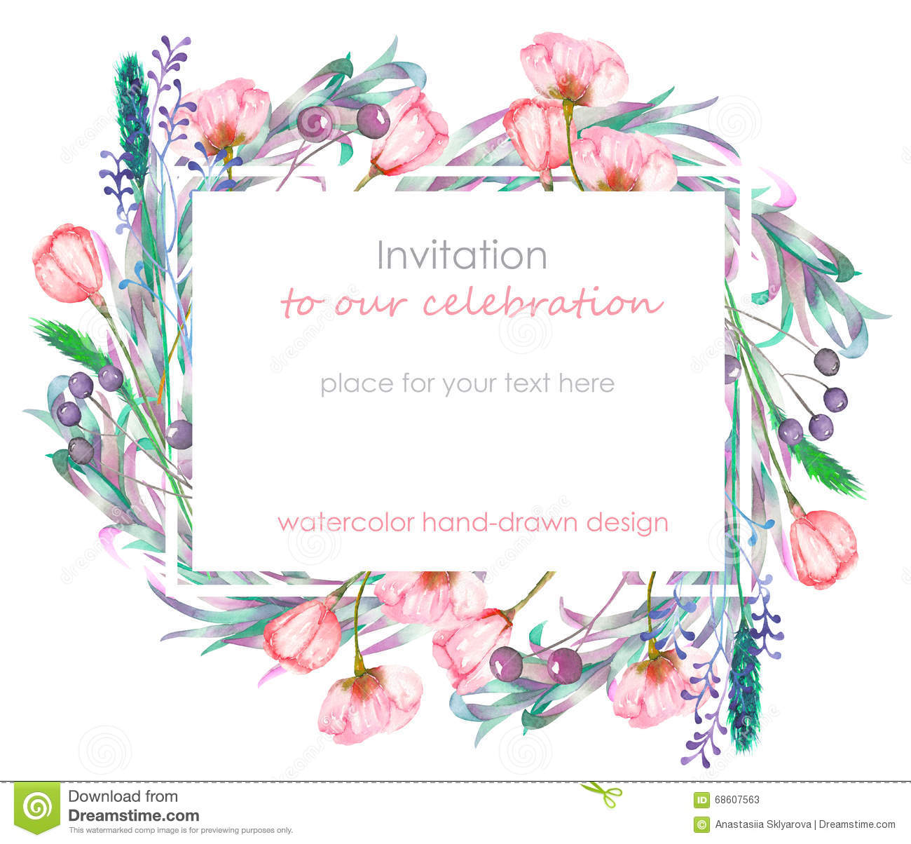 Card Template With The Floral Design Berries Spring