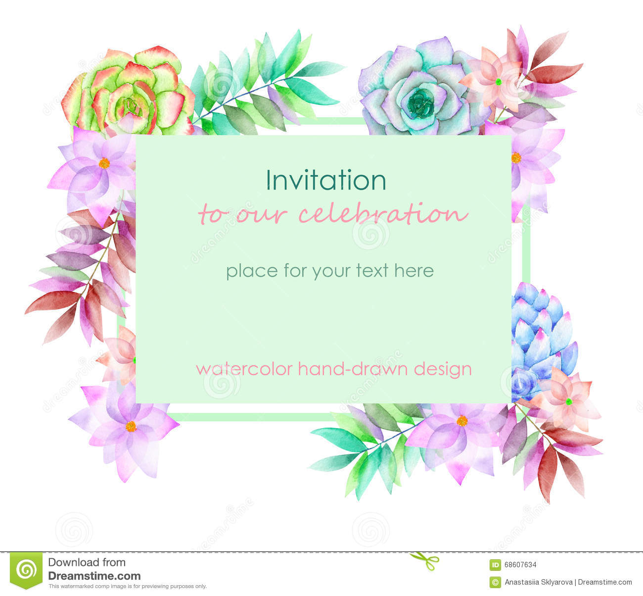 card template with the floral design succulents flowers and leaves