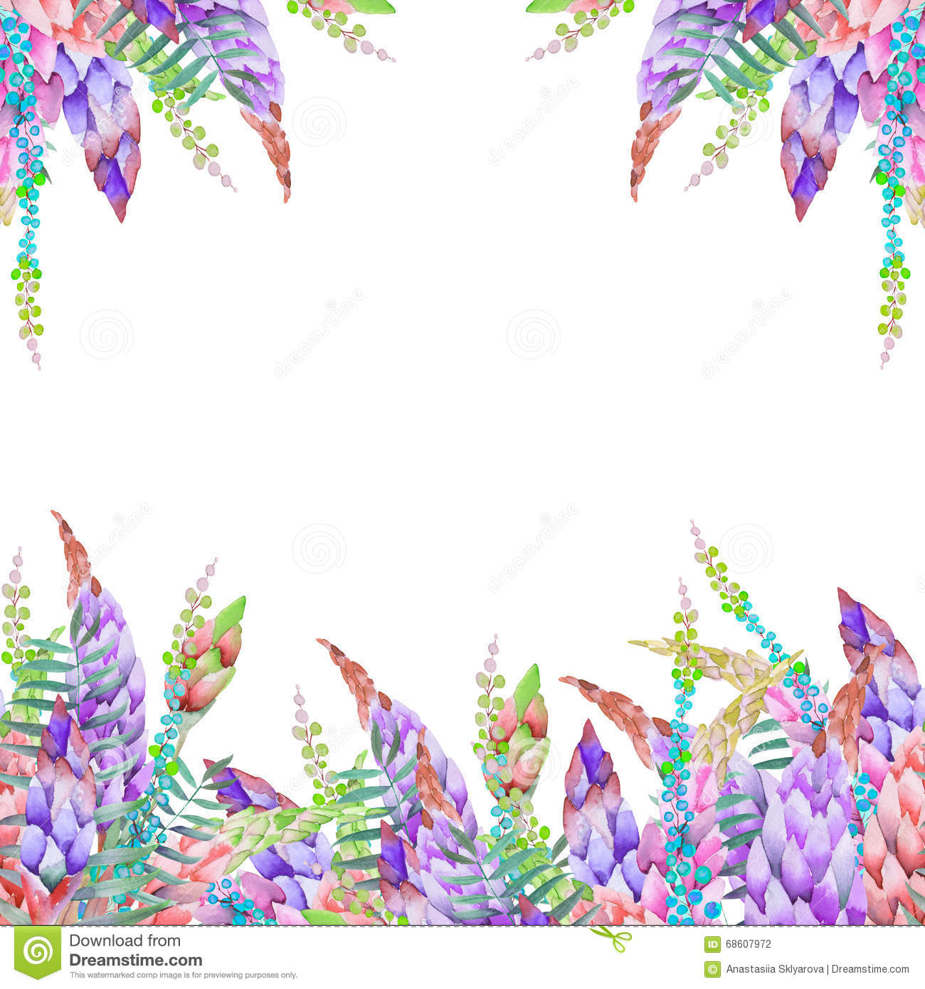 download card template with the floral design watercolor floral elements of a lupine flowers and