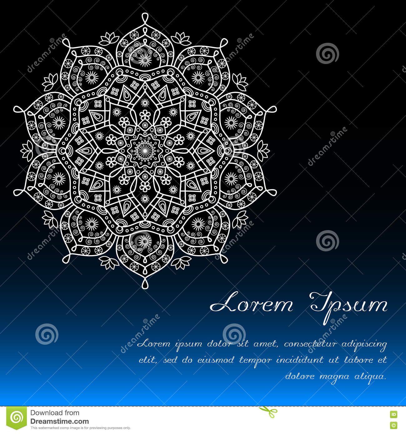 card template with floral mandala decor in blue black white