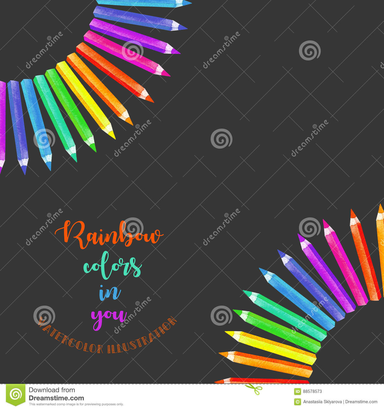 Card Template Frame Border With Watercolor Colour Pencils Hand Painted Isolated On A Dark Background