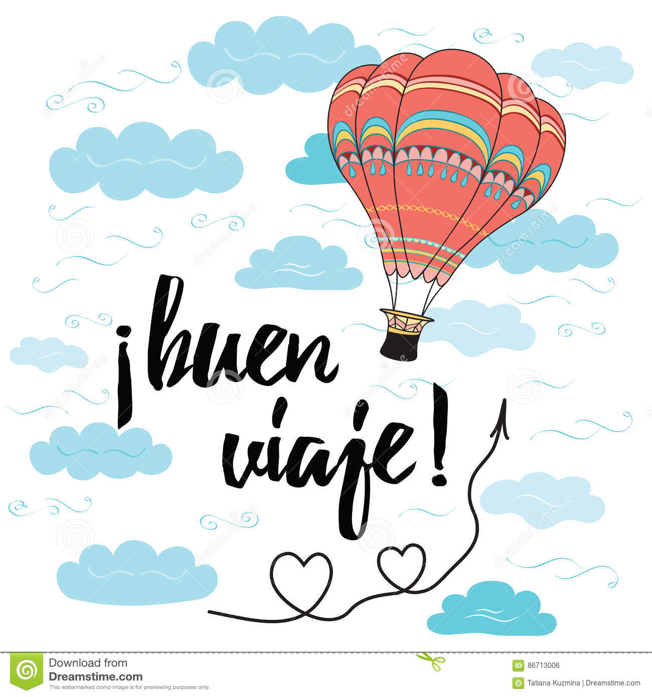 Card With Text Happy Journey In Spanish Language Decorated Hot Air
