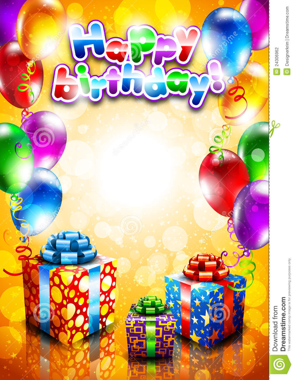 Card To Birthday With Balloons And Gifts