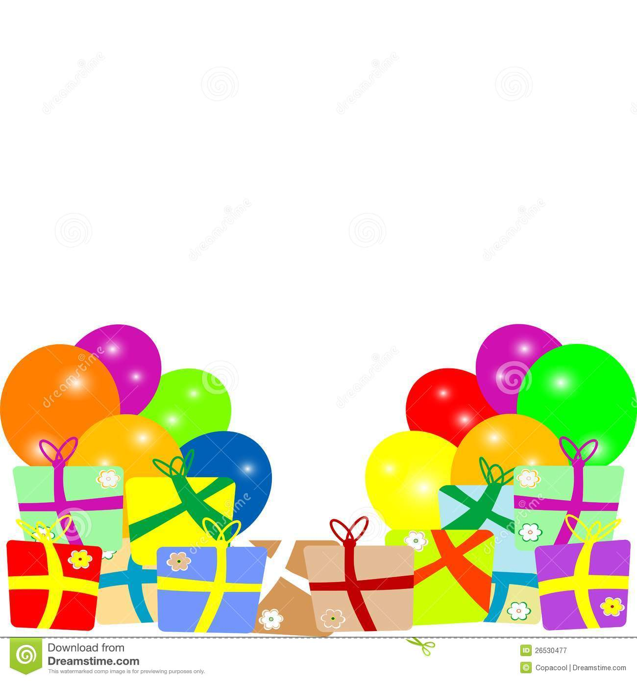 Card To Birthday With Balloons And Gifts Vector Stock